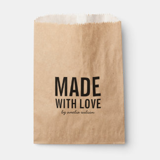 Bold Stylish Rustic Made with Love Favour Bag