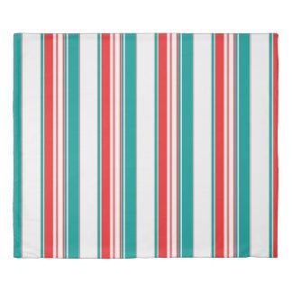 Bold Teal Red Stripes Duvet Cover