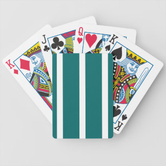 Bold Teal Stripe Bicycle Playing Cards