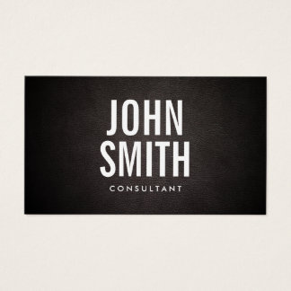 Bold Text Minimalist Classy Leather Consultant Business Card