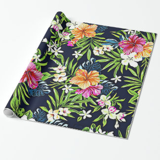 Bold Tropical Flowers of Hibiscus Orchids and Plum Wrapping Paper