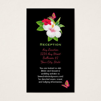 Bold Tropical Hibiscus Butterfly Reception Business Card
