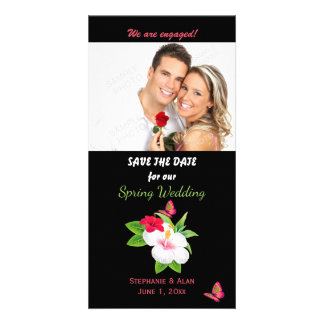Bold Tropical Hibiscus Butterfly Save The Date Photo Cards
