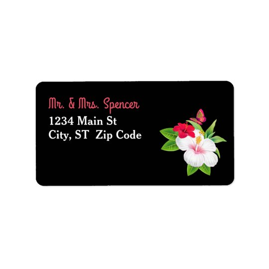 Bold Tropical Hibiscus Butterfly Wedding Label