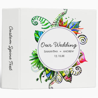 Bold Tropical Palm Leaf Wreath Wedding Photo Album Binder