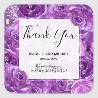 Bold Ultra Violet Rose Floral Thank You Wedding Square Sticker