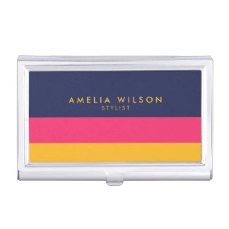 Bold Vibrant Blue Pink Yellow Color Block Business Card Holder