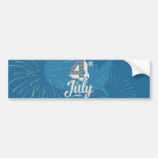 Bold vintage text July 4th independence red blue Bumper Sticker