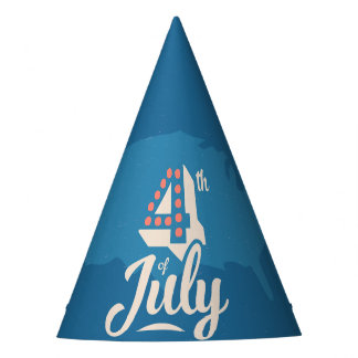 Bold vintage text July 4th independence red blue Party Hat