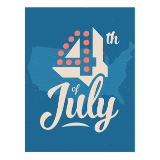 Bold vintage text July 4th independence red blue Postcard