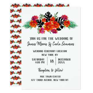 Bold Watercolor Floral w Monstera Tropical Leaf Card