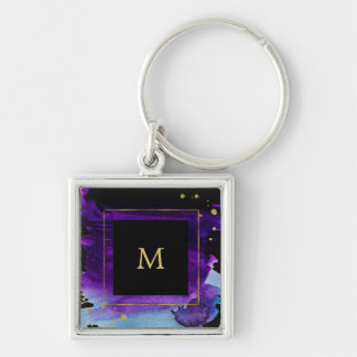 Bold Watercolor Splash with Faux Gold Look Accents Keychain