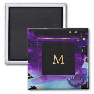 Bold Watercolor Splash with Faux Gold Look Accents Square Magnet