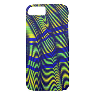 bold wavy abstract-blue and gold iPhone 7 case