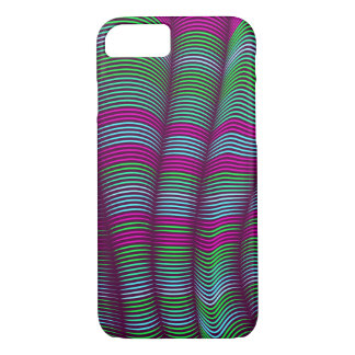 bold wavy abstract-green and pink iPhone 7 case