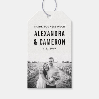Bold Wedding | Black Text on White with Photo Gift Tags