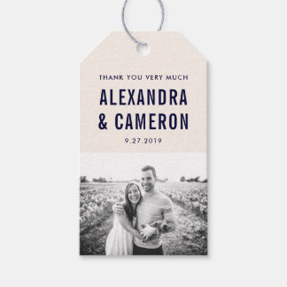 Bold Wedding | Blush Pink and Navy Text with Photo Gift Tags