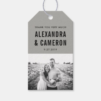Bold Wedding | Gray with Black Text and Photo Gift Tags