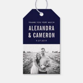 Bold Wedding | Navy Blue and Blush Text with Photo Gift Tags