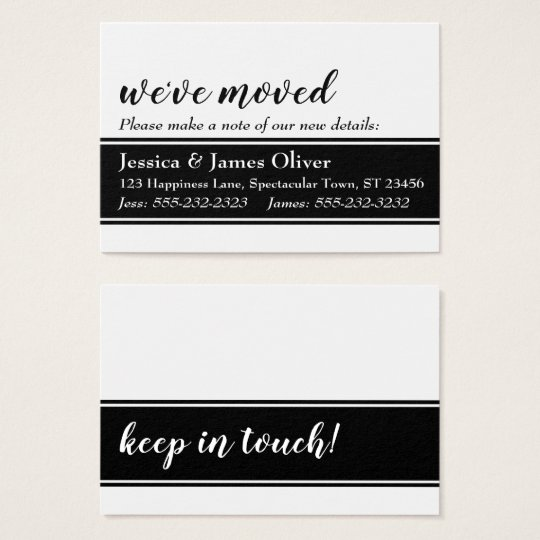 Bold We've Moved Card, White with Black Strip Business Card