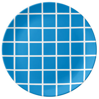 Bold White Lattice Stripes on Summer Blue Plate