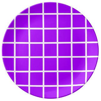 Bold White Lattice Stripes on Summer Grape Plate