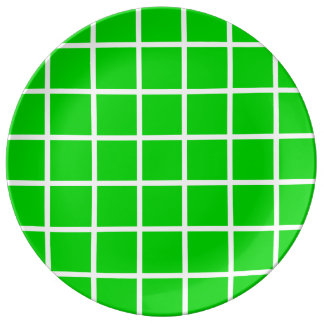 Bold White Lattice Stripes on Summer Green Plate