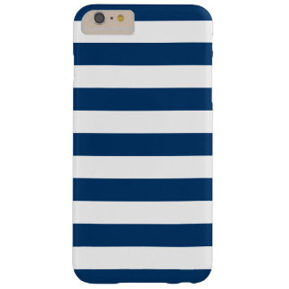 Bold White Navy Blue Stripes Barely There iPhone 6 Plus Case