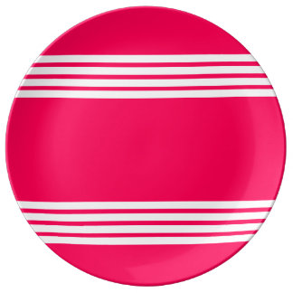 Bold White Stripes on Summer Pink Plate