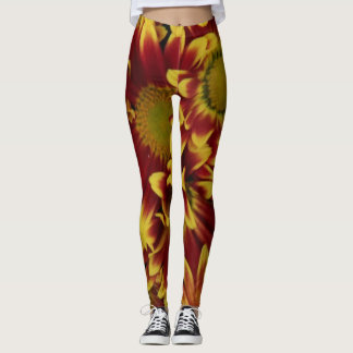 Bold wildflowers, yellow and red leggings