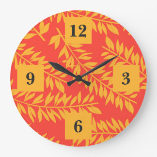 Bold Yellow and Coral Orange Palm Fronds Large Clock