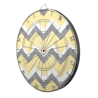 Bold Yellow and Gray Chevrons Dartboards
