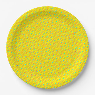 Bold Yellow and Teal 9 Inch Paper Plate