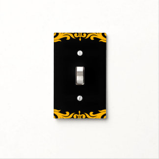 Bold Yellow & Black Glam Pattern Modern Chic Light Switch Cover