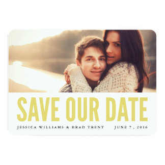 "Bold Yellow Modern Photo Save the Date 5"" X 7"" Invitation Card"