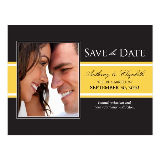 Bold Yellow Stripe Save the Date Postcard