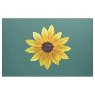 Bold Yellow Sunflower on Teal IB Combed Cotton Fabric