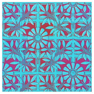 Bold Zinnia in Blue and Red Fabric