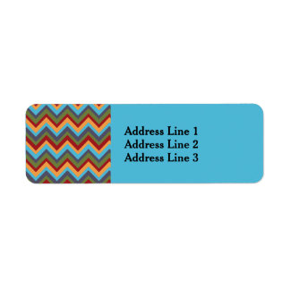 Boldly Colored Chevron on Baby Blue Address Label
