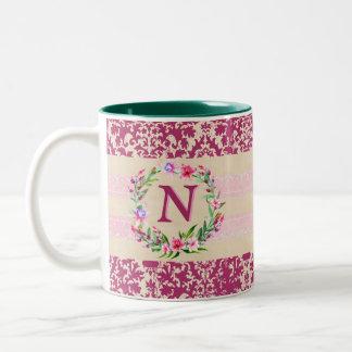 Boldly Romantic Floral Monogram Mug (Wine)