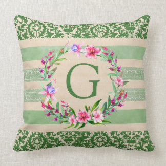 Boldly Romantic Floral Monogram Pillow (Green)