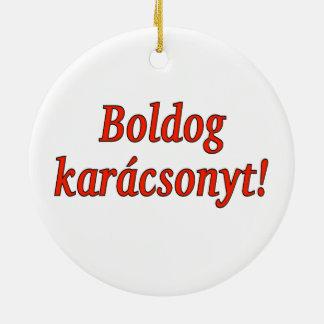 Boldog karácsonyt! Merry Christmas in Hungarian rf Round Ceramic Ornament