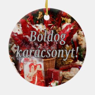 Boldog karácsonyt! Merry Christmas in Hungarian wf Round Ceramic Ornament