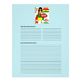 Bolivia blank vegetarian recipe cards