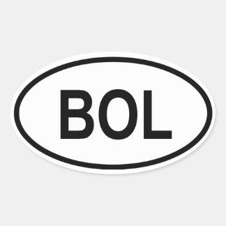 """Bolivia """"BOL"""" Oval Sticker"""