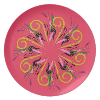 Bolivia ethno Mandala art. Original drawing Plate