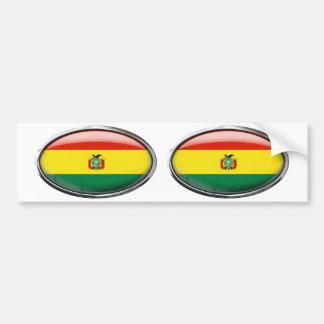 Bolivia Flag Glass Oval Bumper Sticker