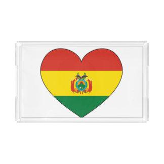 Bolivia Flag Heart Acrylic Tray