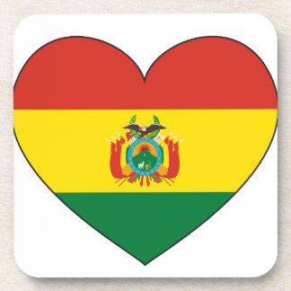 Bolivia Flag Heart Beverage Coasters