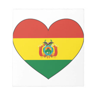 Bolivia Flag Heart Notepad